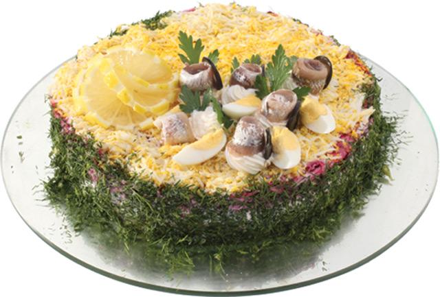 Торт с сельдью на вафельных коржах