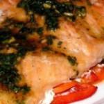 рыба запеченная на овощной подушке