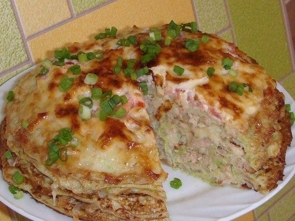 кабачково сырный торт с мясом