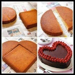 торт Сердце из разных коржей