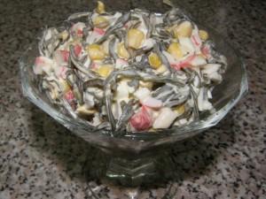 Салат с морской капустой и кукурузой рецепт с фото