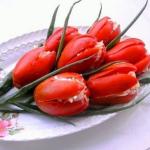 Нарезка тюльпаны с сыром