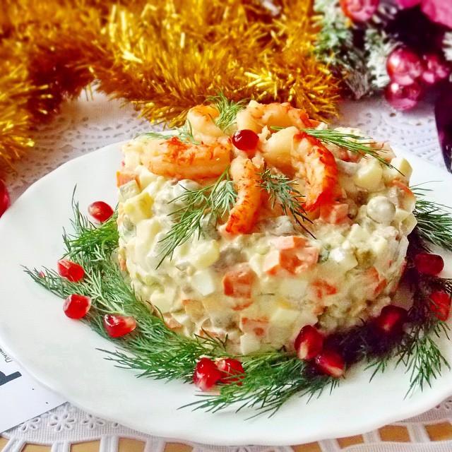 Салаты на Новый год и Рождество с морепродуктами