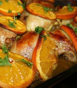 Курочка в духовке с апельсинами