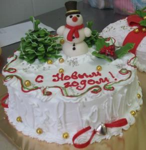 Как украшать новогодние торты