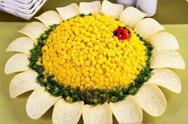 Салаты с кукурузой на праздничный стол